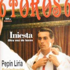 Tauromaquia: REVISTA 6 TOROS 6 Nº 190 - AÑO 1998. INIESTA OTRA VEZ DE LUCES. PEPÍN LIRIA REIVINDICACIÓN DE TORERO. Lote 116646155