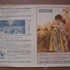 Tauromaquia: PROGRAMA DE MANO PLAZA DE TOROS DE BENIDORM - DIAS 13,14,15 Y 16 DE NOVIEMBRE DE 1943. Lote 262704770