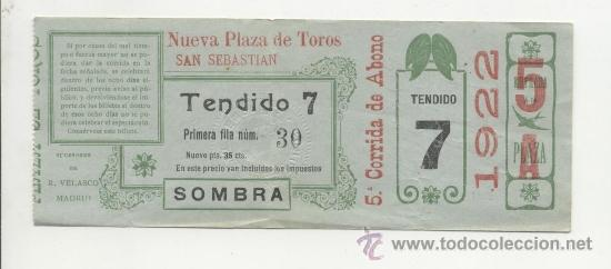 "ANTIGUA ENTRADA DE TOROS DEL AÑO 1922 SAN SEBASTIÁN ""NUEVA PLAZA DE TOROS DE SAN SEBASTIÁN (Coleccionismo - Tauromaquia)"