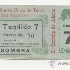 "Tauromaquia: ANTIGUA ENTRADA DE TOROS DEL AÑO 1922 SAN SEBASTIÁN ""NUEVA PLAZA DE TOROS DE SAN SEBASTIÁN. Lote 38739505"