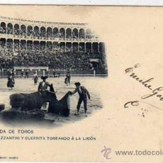 Tauromaquia: TARJETA POSTAL CORRIDA DE TOROS. MAZZANTINI Y GUERRITA TOREANDO A LA LIMÓN HAUSER 214. Lote 38855443