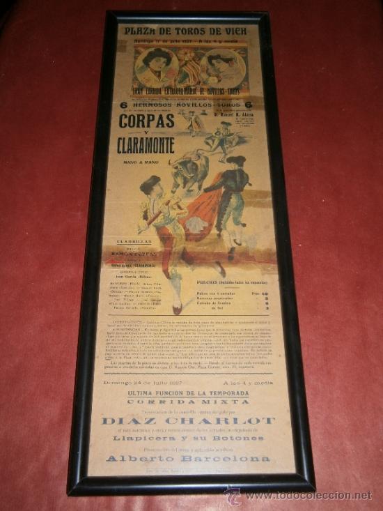 TREMENDO CARTEL DE TOROS,VICH,BARCELONA,AÑO 1927,ENMARCADO.BONITO,VER LA FOTO (Coleccionismo - Tauromaquia)