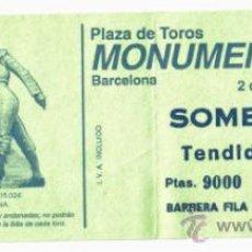 Tauromaquia: ENTRADA TOROS PLAZA MONUMENTAL BARCELONA- AGOSTO 1992.. Lote 39188600