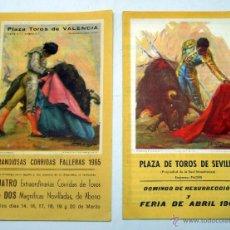 Tauromaquia: 2 PROGRAMA TOROS PLAZA VALENCIA CORRIDAS FALLERAS 1965 Y MAESTRANZA SEVILLA FERIA ABRIL 1967. Lote 39402180