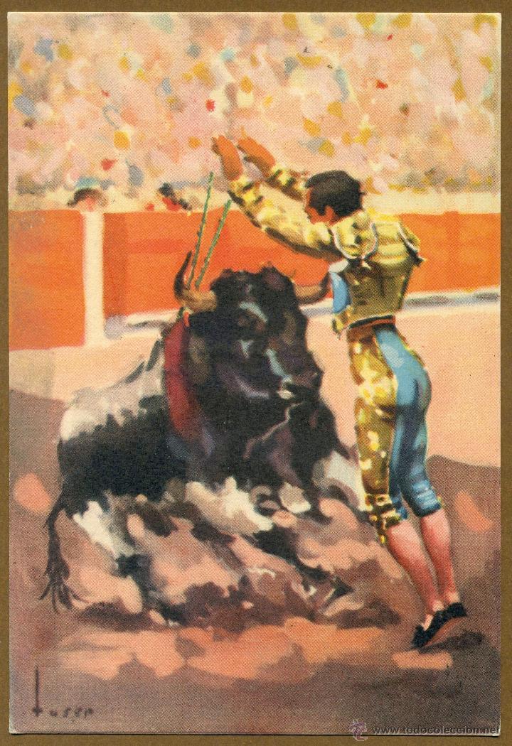 POSTAL TAUROMAQUIA - UN PAR DE BANDERILLAS (Coleccionismo - Tauromaquia)