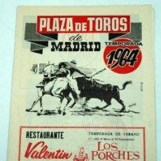 Tauromaquia: PROGRAMA PLAZA DE TOROS MADRID TEMPORADA 1964. Lote 278370868