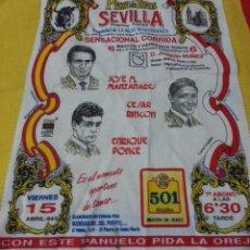 Tauromaquia: PAÑUELO DE TOROS. SEVILLA, ABRIL 1994. JOSE M MANZANARES, CESAR RINCON Y ENRIQUE PONCE. Lote 40038671