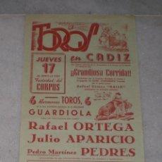Tauromaquia: CARTEL DE LA PLAZA DE TOROS DE CADIZ 1954CORPUS. (ORTEGA, APARICIO Y PEDRES). Lote 40056106