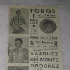 Tauromaquia: CARTEL DE LA PLAZA DE TOROS DE CADIZ 1953. (VAZQUEZ, BELMONTE, ORDOÑEZ Y OSTOS). Lote 40056150