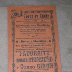 Tauromaquia: CARTEL DE LA PLAZA DE TOROS DE CADIZ 1955 (PACORRITO, MONDEÑO Y GIRON). Lote 40056191