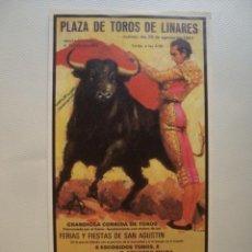 Tauromaquia: PEQUEÑO CARTEL PLAZA DE TOROS DE LINARES MUERTE MANOLETE. MESÓN EL BURLAERO. 20,8X10,6 CM.. Lote 40293027