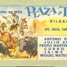 Tauromaquia: ENTRADA PLAZA DE TOROS BILBAO 1959. Lote 40612192