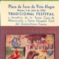 Tauromaquia: ENTRADA PLAZA DE TOROS BILBAO 1952. ORTEGA, BIENVENIDA, DOMINGUIN, CALERITO Y ORDOÑEZ. Lote 55074825