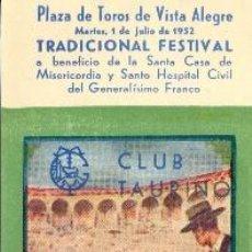 Tauromaquia: ENTRADA PLAZA DE TOROS BILBAO 1952. ORTEGA, BIENVENIDA, DOMINGUIN, CALERITO Y ORDOÑEZ. Lote 40612429