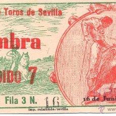 Tauromaquia: ENTRADA PLAZA DE TOROS DE SEVILLA 1949. Lote 40633150