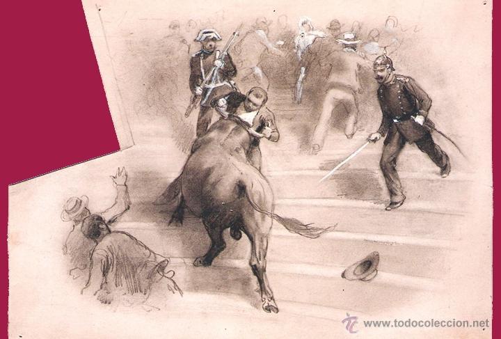 PEREA Y ROJAS, DANIEL (1886). PEQUEÑO DIBUJO ORIGINAL A LÁPIZ Y CLARIÓN SOBRE CARTULINA.19 X 14 CM. (Coleccionismo - Tauromaquia)