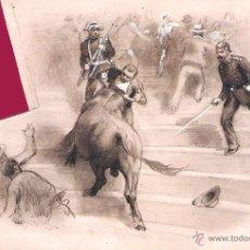 Tauromaquia: PEREA Y ROJAS, DANIEL (1886). PEQUEÑO DIBUJO ORIGINAL A LÁPIZ Y CLARIÓN SOBRE CARTULINA.19 X 14 CM.. Lote 41281509