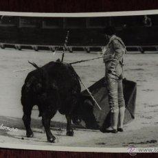 Tauromaquia: FOTOGRAFIA ORIGINAL DE MANOLETE, MANUEL RODRIGUEZ , TOROS , REVERSO CON SELLO FOTO BALDOMERO, MIDE 1. Lote 41586512