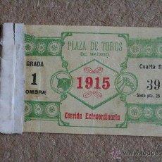 Tauromaquia: ENTRADA. PLAZA DE TOROS DE MADRID. 10 DE MAYO DE 1915. JOSELITO Y BELMONTE.. Lote 41592943