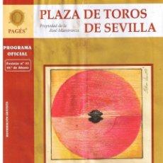 Tauromaquia: PLAZA DE TOROS DE SEVILLA. PROGRAMA OFICIAL. 29ª DE ABONO 2008 (4 PAGINAS). Lote 41660516