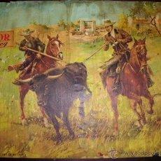 Tauromaquia: LAMINA PUBLICIDAD FUNDADOR DOMECQ. PINTOR JUAN LARA 1965(TAMAÑO 45X32 APROX.). Lote 41674342