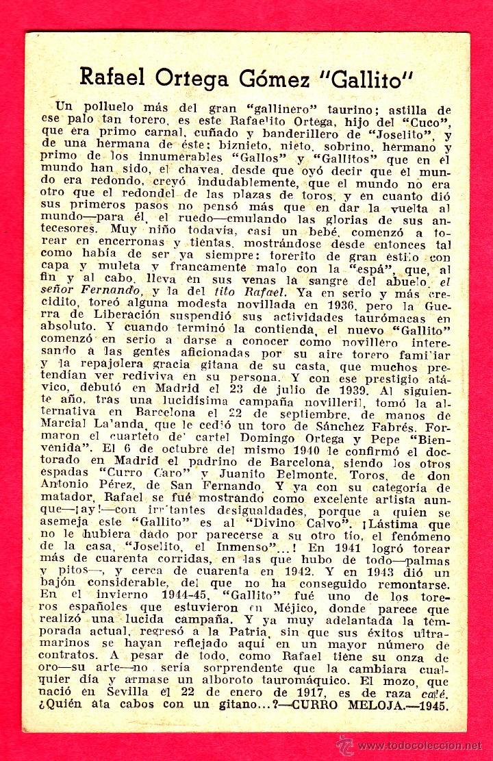 Tauromaquia: RAFAEL MOLINA MARTÍNEZ, LAGARTIJO CHICO. ALBUM BIOGRAFICO TAURINO EDI. LARRISAL. CURRO MELOJA 1945. - Foto 2 - 43650347