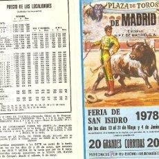 Tauromaquia: PROGRAMA DE MANO FERIA DE SAN ISIDRO 1978. DÍPTICO. ENVÍO: 1,30 € *.. Lote 44600632