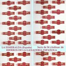 Tauromaquia: SERIE COMPLETA DE DE 56 VITOLINAS DE HIERROS DE LAS GANADERIAS ESPAÑOLAS DE TABACO LA ESMERALDA.. Lote 44970598
