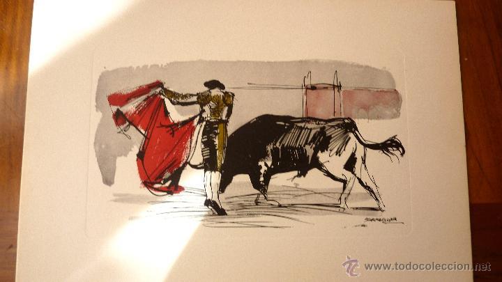 Tauromaquia: Los Toros . 8 láminas grabados tauromaquia . toreros . dibujos Serrabona . color lamina carpeta - Foto 2 - 45175403