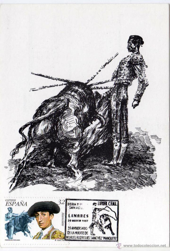BONITA POSTAL - MANUEL RODRIGUEZ SANCHEZ .MANOLETE - MATASELLO 50 ANIVERSARIO DE SU MUERTE - LINARES (Coleccionismo - Tauromaquia)
