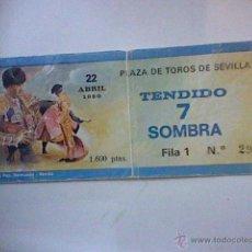 Tauromaquia: ENTRADA USADA TOROS PLAZA SEVILLA 22 ABR 1980 . Lote 46040705