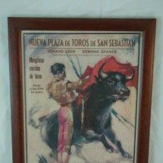 Tauromaquia: CARTEL DE TOROS ORIGINAL AÑO 1958 - SEMANA GRANDE SAN SEBASTIÁN - ENMARCADO.. Lote 46166826