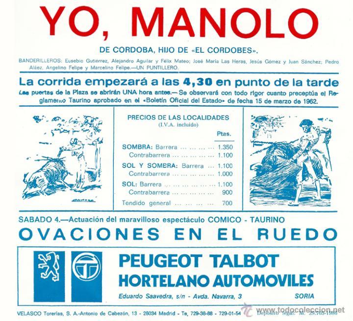 Tauromaquia: Cartel novillada en Soria - año 1986 - con 'Yo, Manolo', presentado como Hijo de 'El Cordobés' - Foto 2 - 46296963