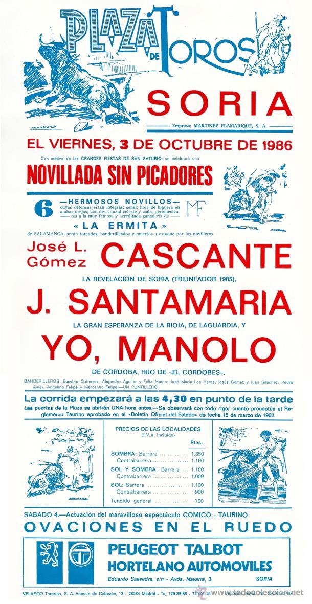 Tauromaquia: Cartel novillada en Soria - año 1986 - con 'Yo, Manolo', presentado como Hijo de 'El Cordobés' - Foto 3 - 46296963