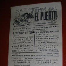 Tauromaquia: PLAZA DE TOROS DEL PUERTO DE SANTA MARIA.1ª.FERIA DEL VINO.1973. Lote 47111933
