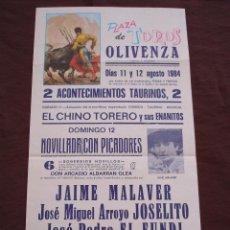 Tauromaquia: CARTEL PLAZA DE TOROS DE OLIVENZA BADAJOZ - AGOSTO 1984 (44X21). Lote 107083444