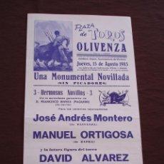 Tauromaquia: CARTEL PLAZA DE TOROS DE OLIVENZA BADAJOZ - AGOSTO 1985 (44X21). Lote 49101209
