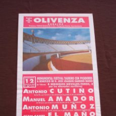 Tauromaquia: CARTEL PLAZA DE TOROS DE OLIVENZA BADAJOZ - ABRIL 1992 (35X17) . Lote 47667194
