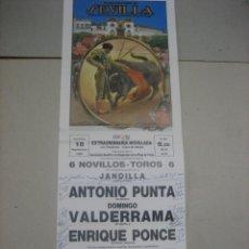 Tauromaquia: CARTEL PLAZA DE TOROS DE SEVILLA.- 18 SEPTIEMBRE 1988.- PUNTA, VALDERRAMA Y ENRIQUE PONCE. Lote 47977517