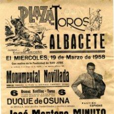 Tauromaquia: ALBACETE, CARTEL TOROS EN PAPEL PLAZA DE TOROS AÑO 1958 . Lote 48930207