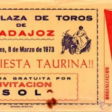 Tauromachie: BADAJOZ,1973, ENTRADA TOROS, PUBLICIDAD CRUZCAMPO. Lote 49748724
