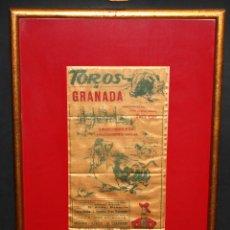 Tauromaquia: CARTEL TAURINO EN SEDA. GRANADA DEL 1961. CON PROPAGANDA DEL TIO PEPE Y GONZALEZ BYASS. Lote 50948358