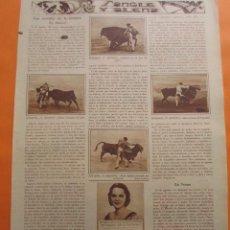 Tauromaquia: RECORTE 1930 - SANGRE Y ARENA CESTER BALDERAS FRANKILN PEPE IGLESIAS JOSE PEPE AMOROS - 2 PAG.. Lote 51102315