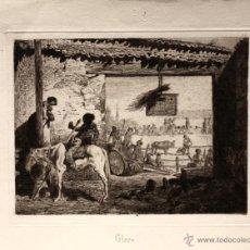 Tauromaquia: GRABADO QUE RECOGE UNA ESCENA TAURINA. PELEON. CALCOGRAFIA AGUAFUERTE. CIRCA 1880. Lote 51177446