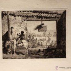 Tauromaquia: GRABADO QUE RECOGE UNA ESCENA TAURINA. PELEON. CALCOGRAFIA AGUAFUERTE. CIRCA 1880. Lote 51177479