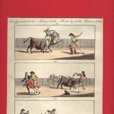 Tauromaquia: GRABADO CALCOGRAFICO TAURINO COLOREADO COMBATS DE TAUREAUX EN ESPAGNE. CIRCA 1800. Lote 51177653