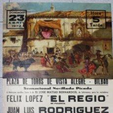 Tauromaquia: CARTEL PLAZA DE TOROS VISTA ALEGRE. BILBAO. AÑO 1972. Lote 51546849