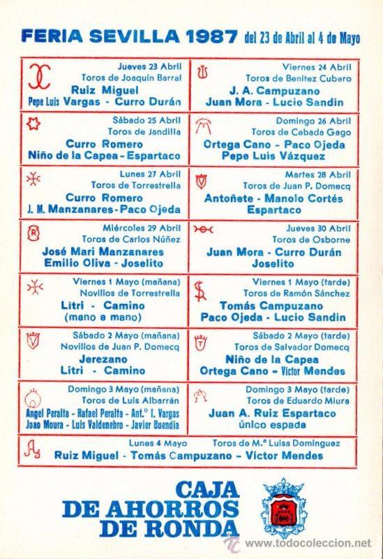 Tauromaquia: SEVILLA , CARTEL FERIA DE SEVILLA 1987, DAMASO GONZALEZ, 105X150 MM - Foto 2 - 51969040