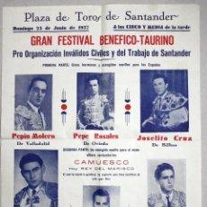 Tauromaquia: CARTEL PLAZA DE TOROS DE SANTANDER. AÑO 1957. Lote 52390999