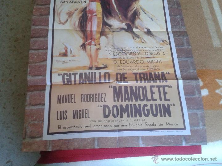 Tauromaquia: BONITA REPRODUCCION CARTEL DIA DE LA MUERTE DE MANOLETE PLAZA DE TOROS DE LINARES JAEN 1947 IDEAL CO - Foto 3 - 61311078